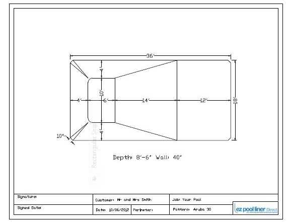inground pool liner approval drawing